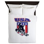 Patiotic Usa Snowboarder Queen Duvet
