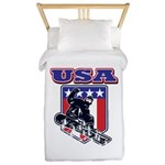 Patiotic Usa Snowboarder Twin Duvet