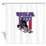 Patiotic USA Snowboarder Shower Curtain