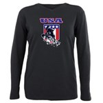 Patiotic USA Snowboarder Plus Size Long Sleeve Tee