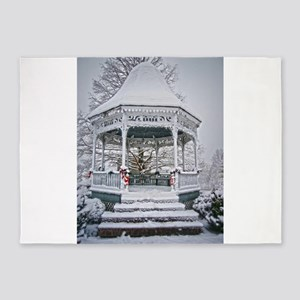 Courthouse Gazebo in the Snow 5'x7'Area Rug