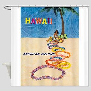 Hawaii Retro Vintage Travel Poster Shower Curtain