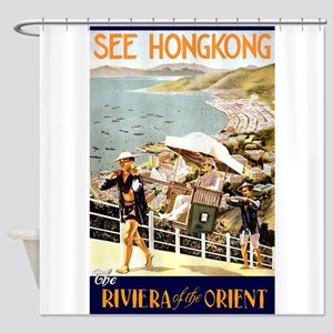 See Hong Kong, Vintage Travel Poster Shower Curtai