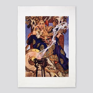 Celtic Queen Maev by Leyendecker 5'x7'Area Rug
