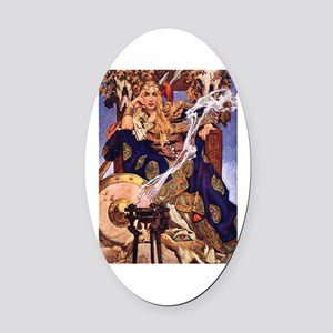 Celtic Queen Maev by Leyendecker Oval Car Magnet