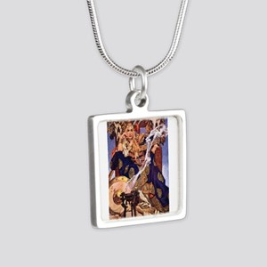 Celtic Queen Maev by Leyen Silver Square Necklace