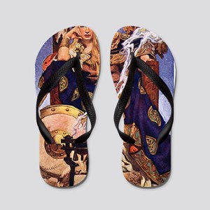 Celtic Queen Maev by Leyendecker Flip Flops