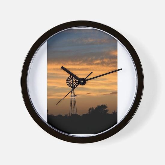 Golden Windmill Sunset Wall Clock