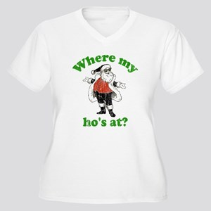 Where my ho's at? Women's Plus Size V-Neck T-Shirt