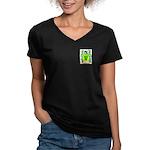 Mandel Women's V-Neck Dark T-Shirt