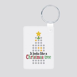 Elf Christmas Tree Aluminum Photo Keychain