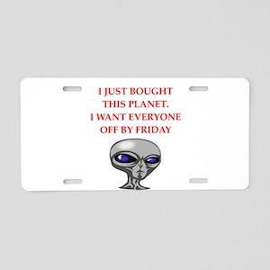 alien invasion Aluminum License Plate