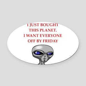 alien invasion Oval Car Magnet