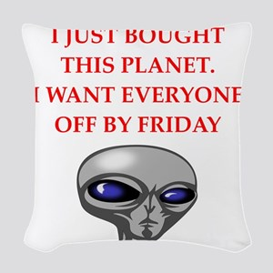 alien invasion Woven Throw Pillow