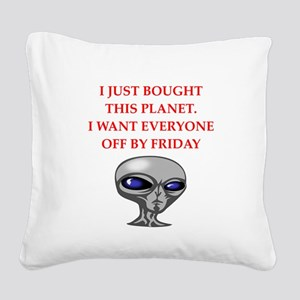alien invasion Square Canvas Pillow
