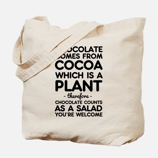 Chocolate comes from cocoa Tote Bag