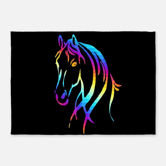 Colorful Horse 5'x7'Area Rug