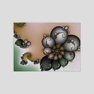 Trinket Flower Fractal 5'x7'Area Rug