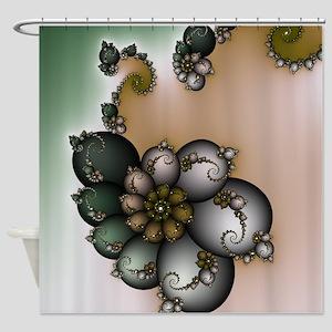 Trinket Flower Fractal Shower Curtain