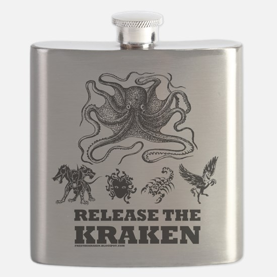 kraken and mythological beasts Flask