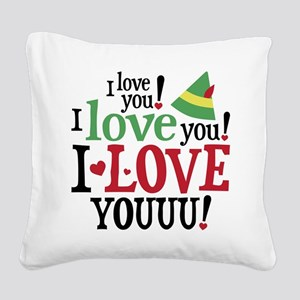 Elf I Love You Square Canvas Pillow