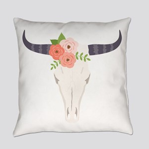 Cow Skull Flowers Bohemian Everyday Pillow