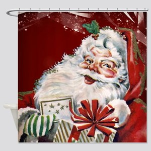 Vintage Santa Claus with many gifts Shower Curtain