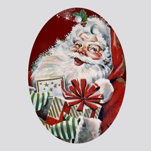 Vintage Santa Claus with many gifts Oval Ornament