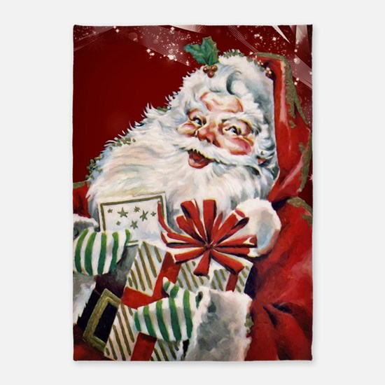 Vintage Santa Claus with many gifts 5'x7'Area Rug