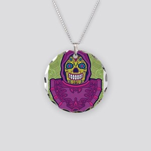 day of dead skeletor Necklace Circle Charm
