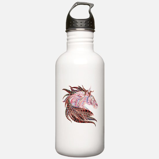Horse Drawing in Pinks Water Bottle