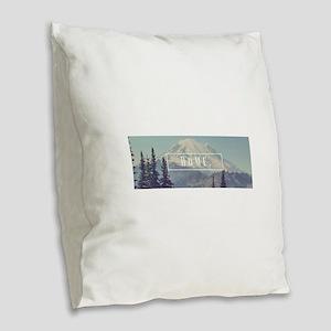 Mt. Rainier Burlap Throw Pillow