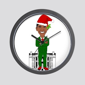 barack obama santa claus Wall Clock