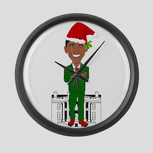 barack obama santa claus Large Wall Clock