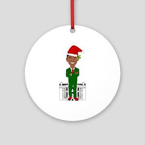 barack obama santa claus Round Ornament
