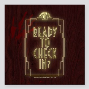 """AHS Hotel Check In Square Car Magnet 3"""" x 3"""""""