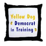 Yellow Dog Democrat in Training Throw Pillow