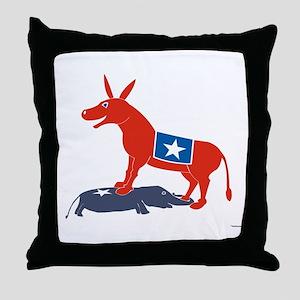 Triumphant Democratic Donkey Throw Pillow