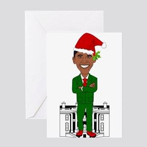 barack obama santa claus Greeting Cards