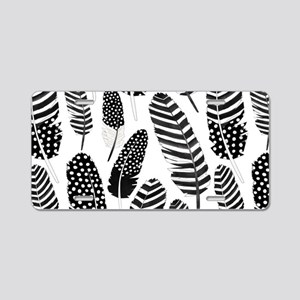 Boho Feather Pattern Watercolor Black and White Al