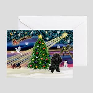 Xmas Magic-Black Poodle Greeting Card