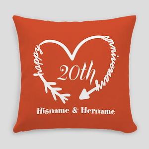 Custom Monogram Names Family Anniv Everyday Pillow