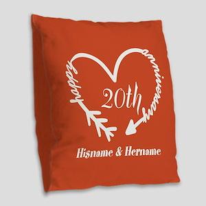 Custom Monogram Names Family A Burlap Throw Pillow