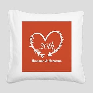 Custom Monogram Names Family Square Canvas Pillow