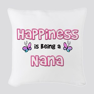 Happiness Is Being A Nana Woven Throw Pillow