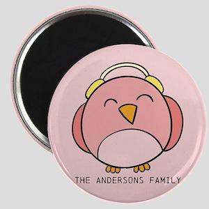 Custom Family Name Christmas Winter Bird Magnet