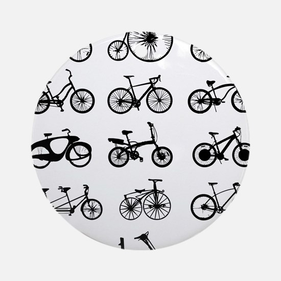 bikes pattern Round Ornament