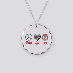 50th. Birthday Necklace Circle Charm