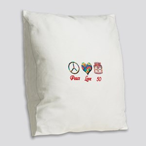 50th. Birthday Burlap Throw Pillow