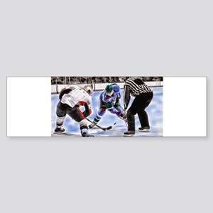 Hocky Players and Referee at Center Bumper Sticker